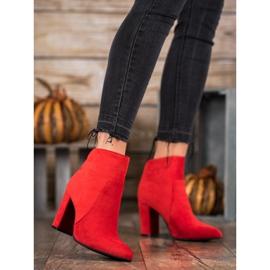 Ideal Shoes Klasyczne Botki Na Słupku czerwone 2