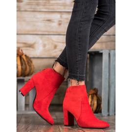 Ideal Shoes Klasyczne Botki Na Słupku czerwone 1
