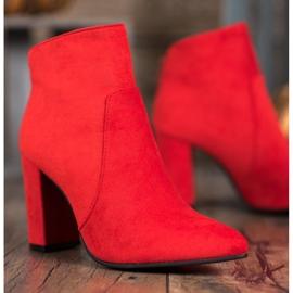 Ideal Shoes Klasyczne Botki Na Słupku czerwone 3