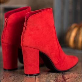 Ideal Shoes Klasyczne Botki Na Słupku czerwone 4