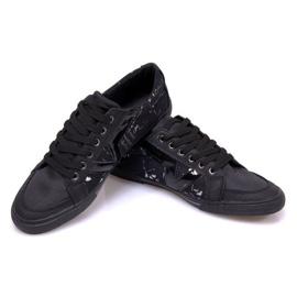 Materiałowe Tenisówki A961 Czarny czarne 1