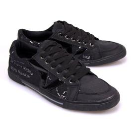 Materiałowe Tenisówki A961 Czarny czarne 2