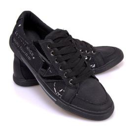 Materiałowe Tenisówki A961 Czarny czarne 3