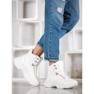 Ideal Shoes Sneakersy Z Eko Skóry białe 2