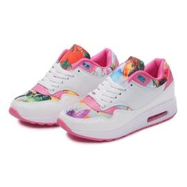 Buty Sportowe Sneakersy Trampki Neon R-50 Biały białe wielokolorowe 2