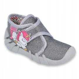 Befado obuwie dziecięce 523P016 różowe szare 1