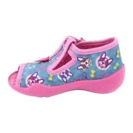 Befado różowe obuwie dziecięce 213P113 niebieskie 2