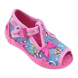 Befado różowe obuwie dziecięce 213P113 niebieskie 1