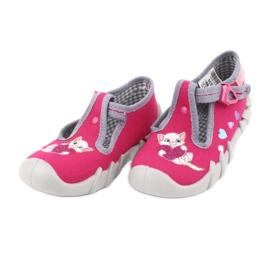 Befado obuwie dziecięce 110P335 różowe szare 4
