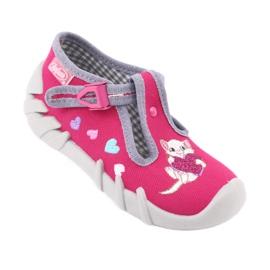 Befado obuwie dziecięce 110P335 różowe szare 3