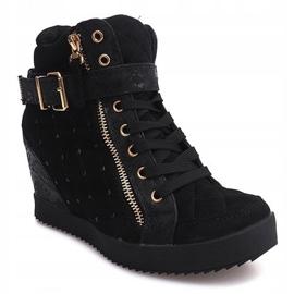 Sneakersy Na Koturnie 6227-Y Czarny czarne 3