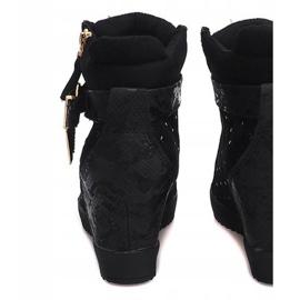 Sneakersy Na Koturnie 6227-Y Czarny czarne 2