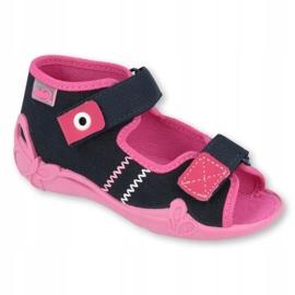 Befado obuwie dziecięce 242P056 granatowe różowe 2