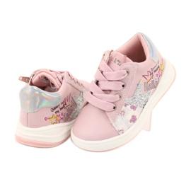 Buty Sportowe dziewczęce gwiazda American Club GC15 różowe szare 4