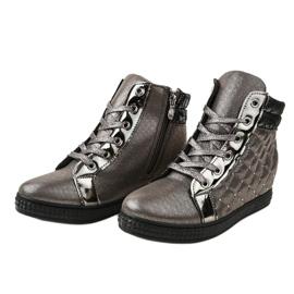 Szare lakierowane sneakersy na koturnie R468-3 3