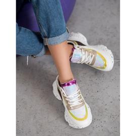 SHELOVET Sneakersy Z Cekinami Na Platformie 1