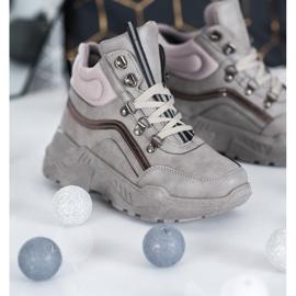 Queentina Ocieplane Sneakersy szare 3