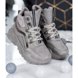 Queentina Ocieplane Sneakersy szare 2