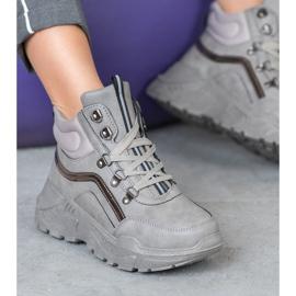 Queentina Ocieplane Sneakersy szare 5