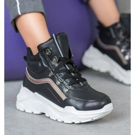 Ideal Shoes Botki Fashion czarne 4
