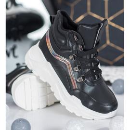 Ideal Shoes Botki Fashion czarne 3