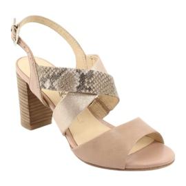 Caprice sandały damskie 28312 beżowy złoty 1
