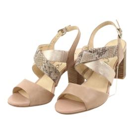 Caprice sandały damskie 28312 beżowy złoty 3
