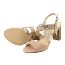 Caprice sandały damskie 28312 beżowy złoty 6