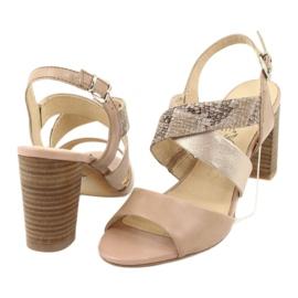 Caprice sandały damskie 28312 beżowy złoty 4