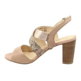 Caprice sandały damskie 28312 beżowy złoty 2