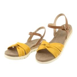 Caprice sandały skórzane beżowe/lemon brązowe żółte 3