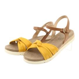 Caprice sandały skórzane beżowe/lemon brązowe żółte 5