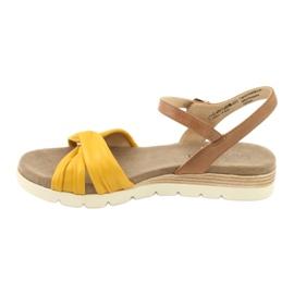 Caprice sandały skórzane beżowe/lemon brązowe żółte 2