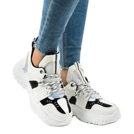 Białe sneakersy sportowe K-505 czarne 1