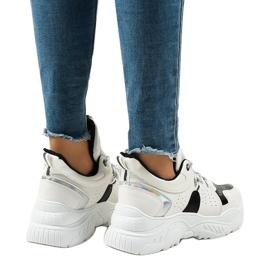 Białe sneakersy sportowe K-505 czarne 3