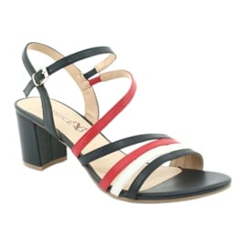 Caprice sandały buty damskie 28304 białe czerwone granatowe 1