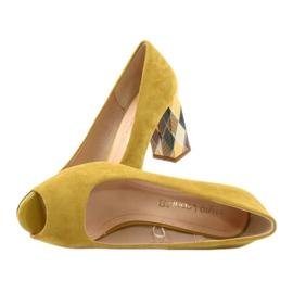 Czółenka zamszowe Sergio Leone PB135 żółty żółte 5
