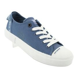 Big Star Trampki wiązane jeans FF274211 białe niebieskie 1