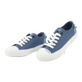 Big Star Trampki wiązane jeans FF274211 białe niebieskie 3