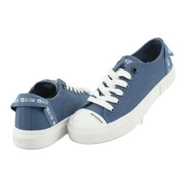 Big Star Trampki wiązane jeans FF274211 białe niebieskie 4
