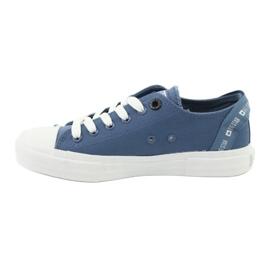 Big Star Trampki wiązane jeans FF274211 białe niebieskie 2