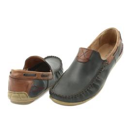 Riko buty męskie mokasyny skórzane 781 brązowe granatowe 5