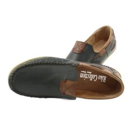 Riko buty męskie mokasyny skórzane 781 brązowe granatowe 7