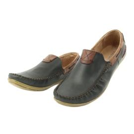 Riko buty męskie mokasyny skórzane 781 brązowe granatowe 4
