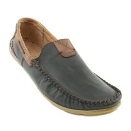 Riko buty męskie mokasyny skórzane 781 brązowe granatowe 2