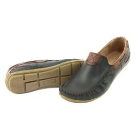 Riko buty męskie mokasyny skórzane 781 brązowe granatowe 6