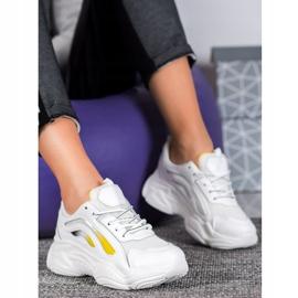 SHELOVET Modne Sneakersy Na Platformie białe żółte 2