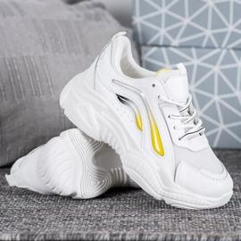 SHELOVET Modne Sneakersy Na Platformie białe żółte 1