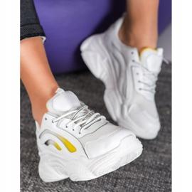 SHELOVET Modne Sneakersy Na Platformie białe żółte 3