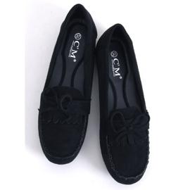 Mokasyny damskie klasyczne czarne 77-202 Black 2